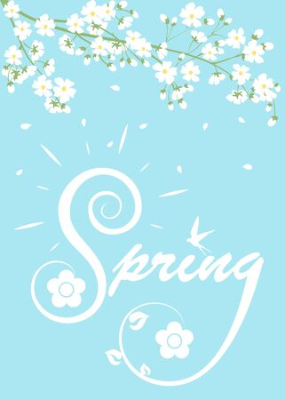 blooming: Spring card with lettering and blooming tree branches