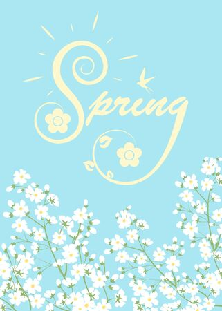 the petal: Spring card with lettering and blooming tree branches