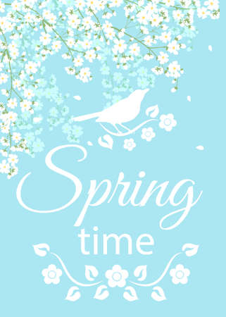 spring time: Spring card with text Spring Time and blooming tree branches
