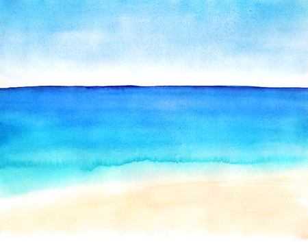 water waves: Watercolor hand-drawn landscape with sand beach and ocean