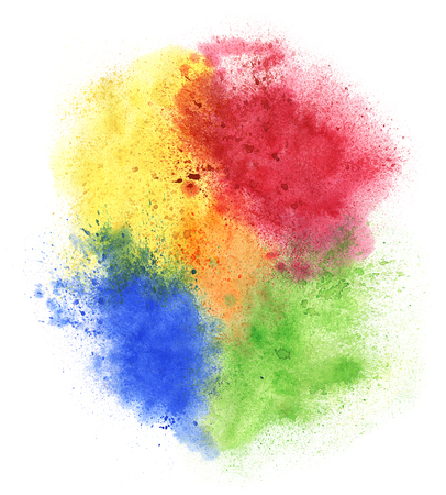 dhulandi: Watercolor hand-drawn colorful paint splashes isolated on white