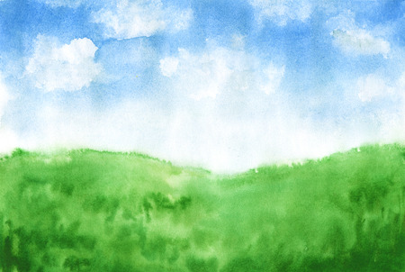 Watercolor hand-drawn rural landscape with green glass and blue sky with clouds