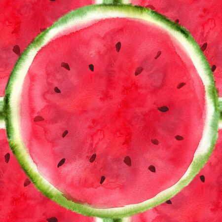 juicy: Watercolor hand-drawn sliced watermelon isolated on white background