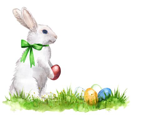 Watercolor hand-drawn white rabbit with easter eggs isolated on white