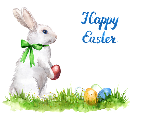 Watercolor hand-drawn white rabbits with easter eggs isolated on white. Greeting card