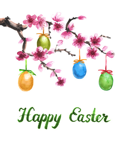 cherries isolated: Watercolor hand drawn illustration with blooming branch of tree and easter eggs isolated on white. Greeting card Stock Photo
