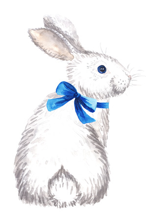 Watercolor hand-drawn white rabbit with bow isolated on white