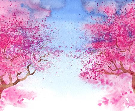 Aquarel hand getekende blur illustratie van bloeiende sakura