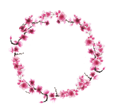 Watercolor hand-drawn wreath of branch of sakura isolated on white 스톡 콘텐츠