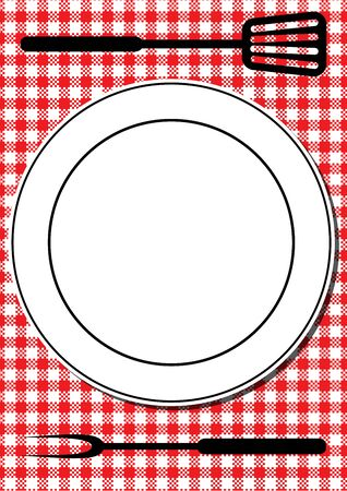 a tablecloth: Barbecue tools and plate on red tablecloth