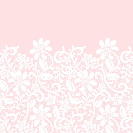 invitation frame: Wedding invitation or greeting card with lace border on pink background Illustration