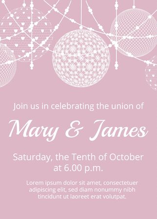 lace background: Lace white bauble decorations on pink background. Wedding card