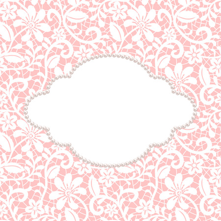 White lace with floral pattern and pearl frame on pink background Ilustração