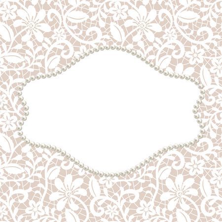 white frame: White lace with floral pattern and pearl frame on beige background Illustration