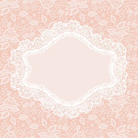pink flower background: White lace with floral pattern and frame on pink background Illustration