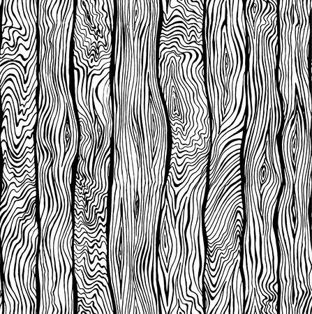 La mano sin fisuras patrón dibujado de la textura de madera Ilustración de vector