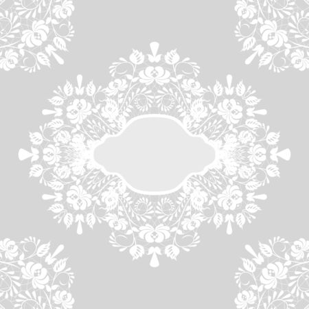 invitation cards: White lace with floral pattern and frame on gray background