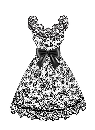 black dress: Lace black dress with bow isolated on white Illustration