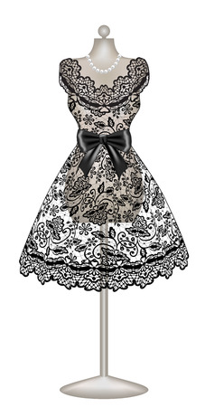 black dress: Black lace dress on mannequin isolated in white