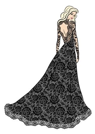 Fashion illustration de femme en robe de dentelle