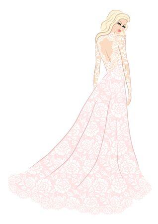 fashion dress: Fashion illustration of bride in lace dress Illustration