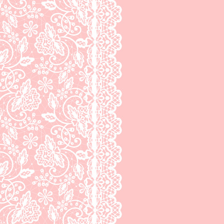 White lace with floral pattern and border on pink background
