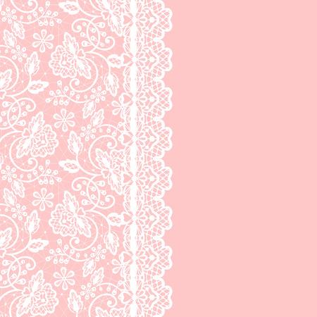 Pizzo bianco con motivi floreali e bordo su sfondo rosa Vettoriali