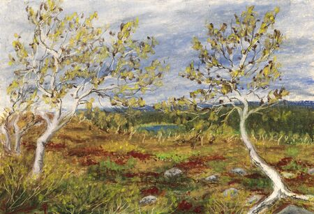 lapland: Beautiful autumn in Lapland, Finland. Hand drawn illustration by oil pastel