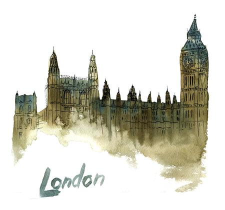手描き水彩イラストのビッグ ・ ベン、ロンドン, イギリス