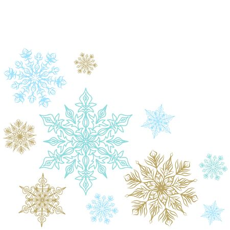 corner: Christmas decoration with snowflakes. Corner element isolated on white, clip art. Illustration