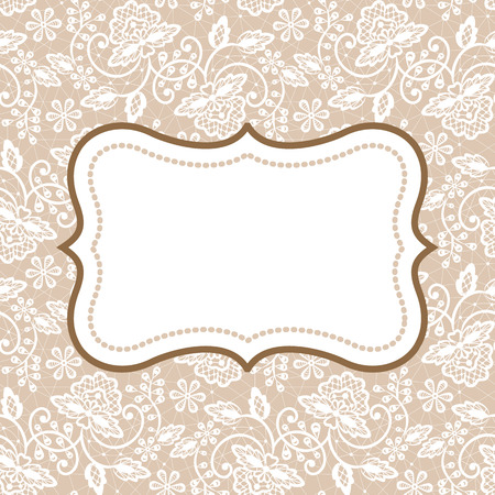 vintage lace: White lace with floral pattern and frame on beige background