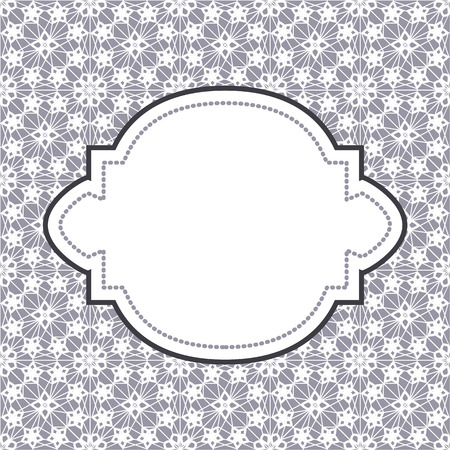 invitation cards: White lace with floral pattern and frame on lilac gray background