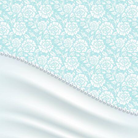 turquesa: invitación de la boda o tarjeta de felicitación con cortinas de seda y collar de perlas Vectores