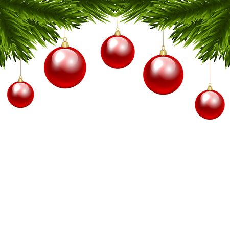 christmas tree branch: Christmas tree branch with three colorful baubles. Clip art
