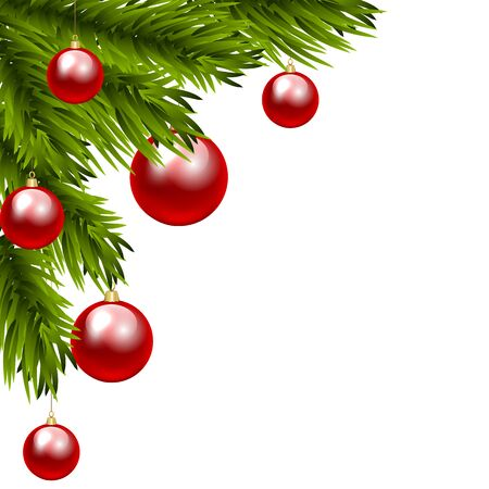 clip art: Christmas tree branch with three colorful baubles. Clip art