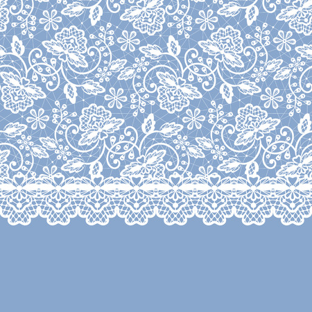 vintage lace: White lace with floral pattern and border on blue background