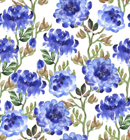 china watercolor paint: Blue peonies on white background. Seamless pattern hand drawn with watercolor in japanese style.