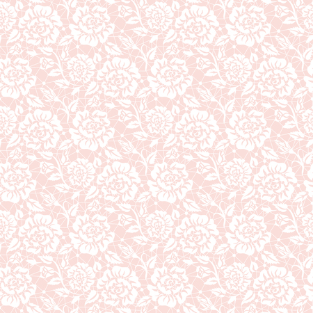pink rose: Seamless white lace background with floral pattern
