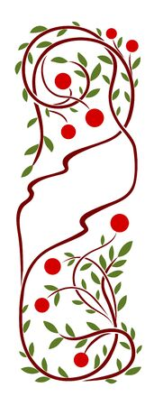 art nouveau frame: Art nouveau frame with red berries and leaves Illustration