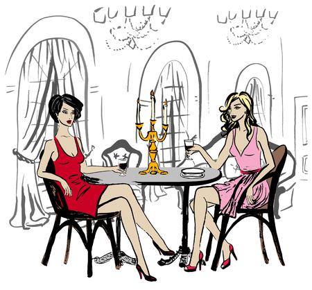 two friends talking: Two women sitting in luxury restaurant and drinking wine
