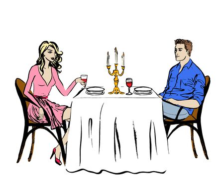 woman drinking wine: Man and woman drinking wine. Dating in restaurant