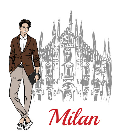 milan: Stylish young man staying near Milan Cathedral, Duomo di Milano, piazza del Duomo in Milan, Italy