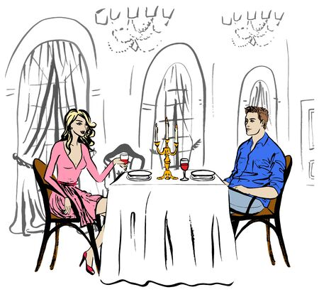 two men talking: Man and woman drinking wine. Dating in restaurant