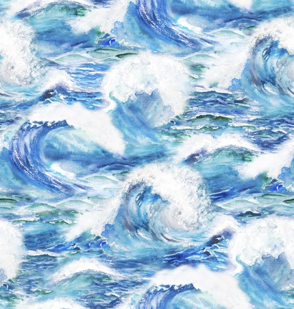 blue sea: Watercolor background with stormy ocean waves. Seamless pattern