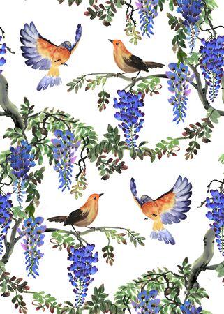 violeta: Mano acuarela ejemplo dibujado con el árbol de glicinia azul y las aves. patrón sin fisuras Foto de archivo