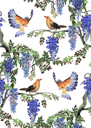 Watercolor hand drawn illustration with blue wisteria tree and birds. Seamless pattern Stock Photo