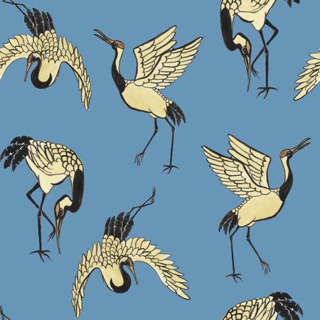 cranes: Seamless pattern with cranes hand-drawn with watercolor in eastern style
