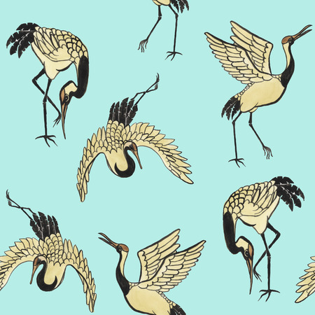 wild asia: Seamless pattern with cranes hand-drawn with watercolor in eastern style