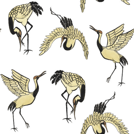bird illustration: Seamless pattern with cranes hand-drawn with watercolor in eastern style