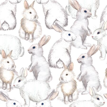 Seamless background with white rabbits on white background. Hand-drawn watercolor painting